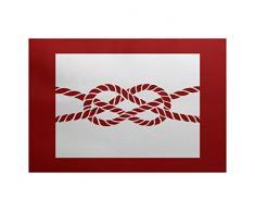 E-design 3 x 5-ft, Nautical Knot, geometrische Print Teppich, rot