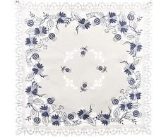 Linens, Art and Things Bettwäsche, Art und Things Bestickt Delft Blau Zwiebel Blume Mitteldecke, Tischdecke, Klein Couchtisch Schal 111,8 x 111,8 cm Quadratisch