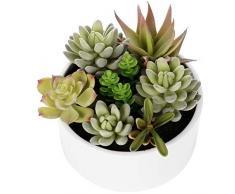 Dekorative Faux Getopfte Sukkulenten/Kunstpflanze in 15,2 cm glasiert Rund Keramik Blumentopf Modern Weiß