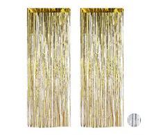 Relaxdays Partyvorhänge 2er Set, Partydeko für Geburstag & Hochzeit, Metallic, Fadenvorhang Glitzer, 100 x 250 cm, gold