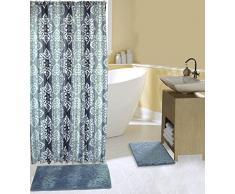 15-teiliges Bad-Set komplett mit 2Memory Foam Bad-Teppiche, Vorhang für die Dusche und Haken in blau