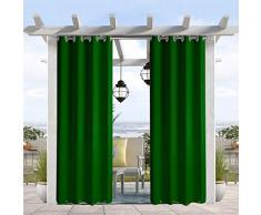 Pro Space wasser- und windabweisender Outdoor-Vorhang, thermoisolierte Ösen oben und unten, Sichtschutz für Terrasse, Veranda, Pavillon, Cabana, 127 cm B x 244 cm L, Dunkelgrün