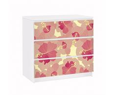 Apalis 91656 Möbelfolie für Ikea Malm Kommode Gelbes Hibiskus Blumenmuster, größe 3 mal, 20 x 80 cm