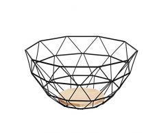 AmazonBasics Obstkorb aus Metalldraht mit Holzboden