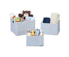 Relaxdays Aufbewahrungskorb 3er Set, Flechtoptik, Regalkorb für Bad und Kinderzimmer, mit Griffen, PP-Korb, grau, Kunststoff, H x B x T: ca. 25 x 36,5 x 30,5 cm