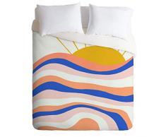 Society6 Sunshinecanteen Sunrise Surf King Bettdecke und 2 Kissenbezüge, Set Twin Mehrfarbig