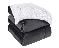 Homeideas Super warme Sherpa-Decke für den Winter, flauschig, dicke Fleece-Decken, extra weich für Bett und Couch King(108x90) dunkelgrau