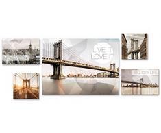 Eurographics 5er New York Polygonal Set Leinwandbild, Leinwand, Beige verschidene Größen, 5