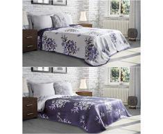 Eurofirany Tagesdecke, Polyester, Creme + Violett, 220cm x 240cm