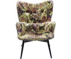Kare Sessel Vicky Velvet Green Dschungel, 83057, samtiger Loungesessel, TV-Sessel mit Dunklem Holzgestell, (HxBxT) 92x59x63cm
