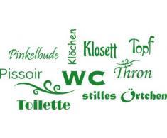 Graz Design 650160_50_062 Wandtattoo Deko fr Bad Sprche Wand Aufkleber fr Badezimmer Toilette WC stilles rtchen Dekoration 104x50cm Hellgrn