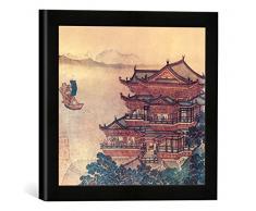 Gerahmtes Bild von Chinesische Malerei Pavillon der himmlischen Melodien/um1000, Kunstdruck im hochwertigen handgefertigten Bilder-Rahmen, 30x30 cm, Schwarz matt