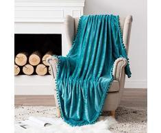 MIULEE Ultra weiche Fleecedecke Luxuriös Fuzzy für Couch oder Sofa, leicht, flauschig warm, Bettdecke mit niedlichen Pompons Twin(60x80) türkis