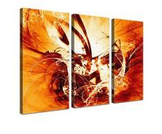 Lana KK - Graf Fire Orange - edel Leinwand Bild Kunstdruck auf Keilrahmen, fertig gerahmt in 120 x 80 cm, dreiteilig