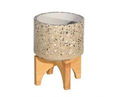 Benjara Blumentopf aus Zement, rund, mit Holzständer, Beige/Braun