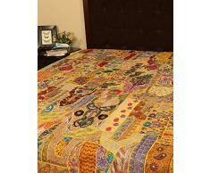Rajrang kg size - Bettlaken Baumwolle Gelb Handarbeit Doppelzimmer Tagesdecke