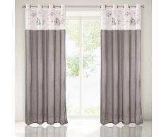 Eurofirany ZAS/ABBY Vorhang, 140x250 cm, Leinenqualität Fensterdekoration, Polyester, Weiß, Grau, 250 x 140 cm
