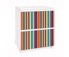 Apalis 91089 Möbelfolie für Ikea Malm Kommode - Selbstklebe Happy Stripes, größe 2 mal, 20 x 40 cm