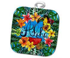 3dRose phl_269108_1 Topflappen, Aloha, bunt, trendige Palmenblätter, Dschungel, tropische Hawaii, Typografie, 20,3 x 20,3 cm