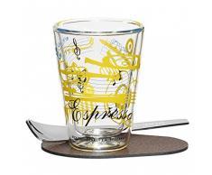 RITZENHOFF A Cuppa Day Espressoglas, Glas, schwarz/blau/gelb, 5.7 cm
