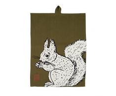 Creative Tops Into The Wild Geschirrtuch aus 100 % Baumwolle mit Eichhörnchendruck, 70 x 50 cm (27,5 x 19,5) - Salbeigrün