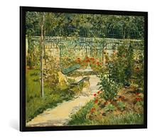 Gerahmtes Bild von Edouard Manet Bank im Blumengarten von Versailles, Kunstdruck im hochwertigen handgefertigten Bilder-Rahmen, 100x70 cm, Schwarz matt