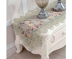 taixiuhome grün Hohl Lace Floral bestickt Modern Esszimmer Home Tischläufer Tisch Flaggen für Party Hochzeit Dekoration, Spitze, grün, 15.7 x 86.6 inches(40 x 220cm)