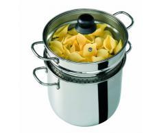 Barazzoni 419048022Â Pasta-Topf, Kochen und Zusehen, Spaghetti-Topf, Deckel mit Korb, Made in Italy, Glas Edelstahl 18/10, 6Â Liter