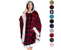 Pavillon Angel Wrap tragbare Poncho Decke Sherpa Besatz One Size Checker Rot