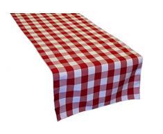 La Leinen Poly Karierte Tischläufer, 14 von 274 cm, Rot/Weiß