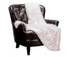 Chanasya Super Soft Fuzzy Fell Elegante Kunstfell rechteckig geprägtes Muster mit flauschigem Plüsch Sherpa Cozy Warme Tagesdecke, Polyester, weiß, 50x65 inches
