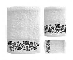 SECANETA Badetücher, Bestickt, 100% Baumwolle, für Schminktisch, Waschbecken und Dusche, Lola (weiß)