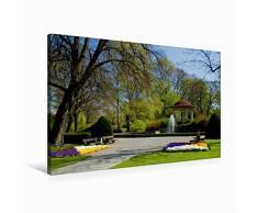 Calvendo Leinwand Stadtpark mit Pavillon 90x60cm, Special-Edition Wandbild, Bild auf Keilrahmen, Fertigbild auf hochwertigem Textil, Leinwanddruck, kein Poster