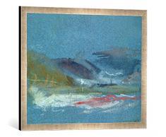 Gerahmtes Bild von Joseph Mallord William Turner River Bank, c.1830, Kunstdruck im hochwertigen handgefertigten Bilder-Rahmen, 70x50 cm, Silber Raya
