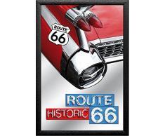 empireposter - Route 66 - Wings - Größe (cm), ca. 20x30 - Bedruckter Spiegel, NEU - Beschreibung: - Bedruckter Wandspiegel mit schwarzem Kunststoffrahmen in Holzoptik -