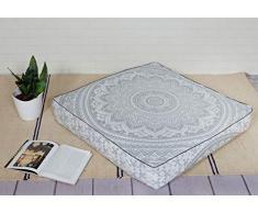Popular Handicrafts Mandala Round Hippie Bodenkissen 35x 35 Pillow Cover Silber