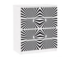 Apalis 91323 Möbelfolie für Ikea Malm Kommode - selbstklebende Psychedelisches Muster, größe 4 mal, 20 x 80 cm, schwarz / weiß