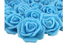 Lightingsky 7 cm DIY Real Touch 3D Kunstblumen Schaumstoff Rose Kopf ohne Stiel für Hochzeit Party Home Dekoration, Kaschmir, hellblau, 100 Pieces