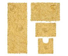 Home Weavers Bell Flower Collection Teppich, saugfähige Baumwolle, weich, maschinenwaschbar, 43,2 x 61 cm/53,3 x 86,4 cm/50,8 x 50,8 cm/53,3 x 137,2 cm 17x24/21x34/20x20/21x54 gelb