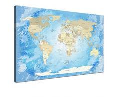 """LanaKK - Weltkarte Leinwandbild mit Korkrückwand zum pinnen der Reiseziele – """"Worldmap Frozen """" - französisch - Kunstdruck-Pinnwand in blau, einteilig & fertig gerahmt in 120 x 80 cm"""