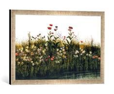 Gerahmtes Bild von Andrew Nicholl Poppies, Daisies and Thistles on a River Bank (Pair of 85964), Kunstdruck im hochwertigen handgefertigten Bilder-Rahmen, 60x40 cm, Silber Raya