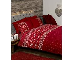 Festive Scandinavian Nordic Winter Bettwäsche Bettdecke Set, Rot, King Size