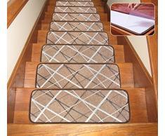 Seloom Stufenmatten mit Rutschfester Gummiunterseite, waschbar, rutschfest, speziell für Holzstufen im Innenbereich 25.5x9.5 Inch, 13 Pieces braun