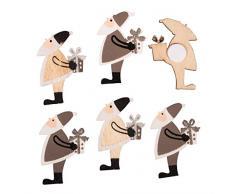 Rayher 46289000 Holz-Streuteile Nikolaus, mit Klebepunkt, Holzstreuteile, Tischstreuer, Tischdeko, Streudeko Weihnachten, Btl. 6 Stück, 4 x 2,4 cm, sortiert grau/natur