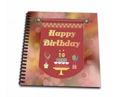 3dRose DB 186456 _ 2 Happy 10. Geburtstag Banner, Kuchen mit Geschenke und Luftballons Memory Buch, 12 von 30,5 cm