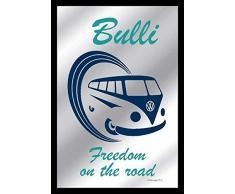 empireposter - Volkswagen - Bulli Freedom Van - Größe (cm), ca. 20x30 - Bedruckter Spiegel, NEU - Beschreibung: - Bedruckter Wandspiegel mit schwarzem Kunststoffrahmen in Holzoptik -