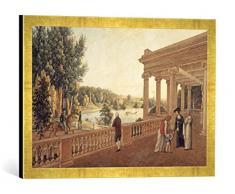 Gerahmtes Bild von AKG Anonymous Pawlowsk, Schloßpark, Pavillon/ Aquarell, Kunstdruck im hochwertigen handgefertigten Bilder-Rahmen, 60x40 cm, Gold raya