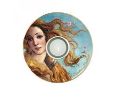 Goebel 66900556Die Geburt der Venus Künstler Teelicht, Porzellan, Bunt, 15 x 15 x 3,5 cm