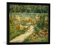 Gerahmtes Bild von Edouard Manet Bank im Blumengarten von Versailles, Kunstdruck im hochwertigen handgefertigten Bilder-Rahmen, 70x50 cm, Schwarz matt