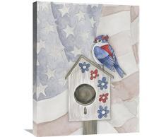 Global Galerie Elyse DeNeige Americana Vogelhaus VI Leinwandbild, 55,9 x 71,1 cm